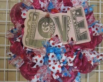 Love Wreath, Girly Wreath, Front Door Wreath, Bridal Shower Wreath, Wall and Bedroom Wreath