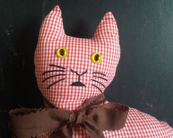 Cat pillow, Red and White checkered gingham vintage, Vintage Home Decor, Cat Decor, Cat Pillow, Country decor