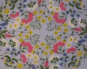 Small Vintage Linen Tablecloth -Pale Blue Floral Tablecloth - Small Square Tablecloth