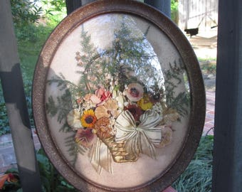 Vintage Flower Wall Art - Curved Glass Framed Flowers - Oval Fern and Flower Picture - 1940s