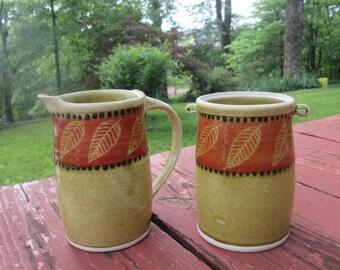 Large Vintage Pottery Creamer and Sugar Bowl - Tan Rust Black - Fall Decor