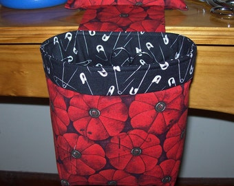 Thread Catcher, Scrap Caddy, Scrap Bag, Pin Cushion With Rubberized Gripper Strip - Red Pincushions - Sewing Helpers