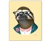 Sloth Lady art print by Ryan Berkley 8x10