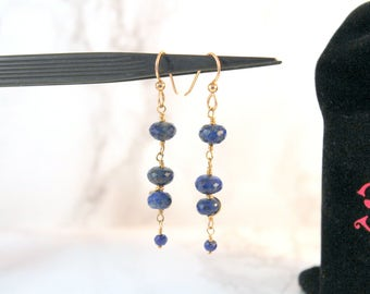 Gold Filled Lapis Lazuli Gemstone Dangle Earrings