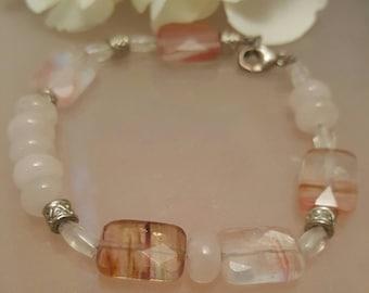 Fire Cherry Quartz, pink quartz, sterling, gemstone, semiprecious, beaded,delicate,sweetheart,bracelet