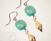DAY 3  FLASH SALE - gold and green flicker earrings
