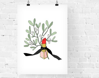 Kiss Me Under the Mistletoe Fashion Illustration Art Print