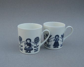 Blue & White Dutch Children Demitasse Cups Weiden Bavaria Holland Children Playing Child Size Mugs Germany Mid Century