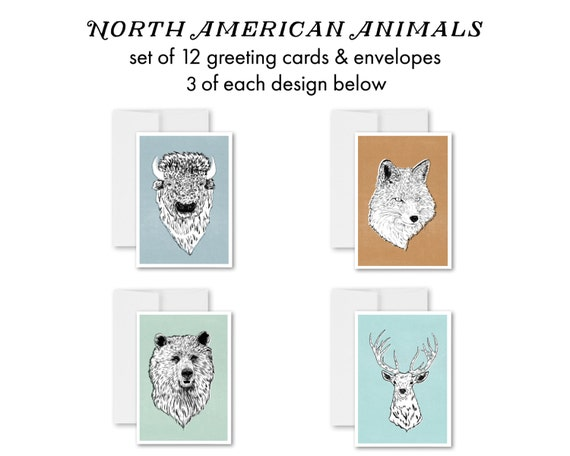 greeting cards, greeting card set, blank inside, bison, illustrations, drawings, handmade cards, fox, bear, elk - North American Animals