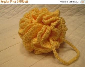 20% OFF WEEKEND SALE Crocheted Shower/Bath Pouf/Scrubbie All Cotton Yarn Yellow