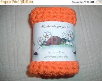 30% OFF STORE SALE Crocheted  Cotton Dish/Washcloths   Set of 3 Orange