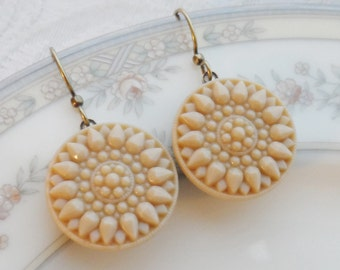 Golden Honey, Vintage Button Earrings