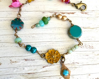 Bohemian colorful beaded charm bracelet,festival bracelet. Tiedupmemories