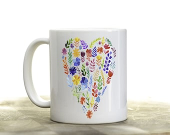 Flower Garden Heart Coffee Mug | Ceramic Coffee Mug | Gift for Coffee Drinker | Coffee Mug Gift | Sublimation Mug | Garden Club Gift
