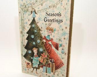 Vintage Christmas Card - old fashioned - vintage greeting card - gilt - gold embellished - 1950s - family
