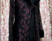 SALE Wicked Princess - Regal Vintage Gothic Lace Coatdress - Black & Wine Lace with Black Faux Fur Accents - XS size