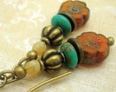 Boho Earrings in a Zen Stacked Style with Pumpkin and Turquoise Glass Beads