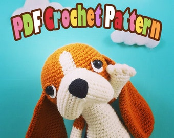 PDF Amigurumi / Crochet Pattern Sleepy Eye Dog – Madeleine and Eclair the Basset Hound CP-16-3356