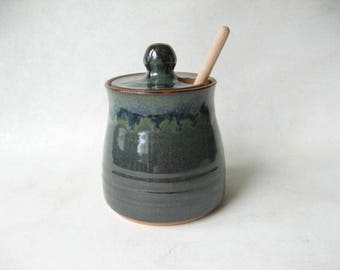 Pottery Honey Pot, Ceramic Honey Pot, Jar for Honey, Stoneware Honey Pot
