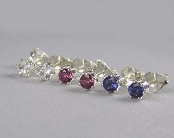 Tiny gemstone studs, One pair - your choice, 3mm gemstones in sterling silver, genuine gemstones, natural gemstones, gemstone earrings