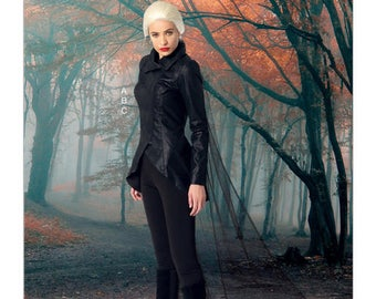 McCall's7456Misses' Seamed Jacket, Stirrup Leggings and Cape The Dark Swan Plus size