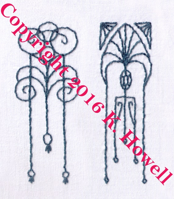 Art deco accents hand embroidery pattern design