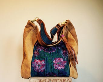 For Rawna///JOSEPHINE Hobo in Peruvian Embroidered Textile and Mixed Brown Leather with Clip On Purse Strap