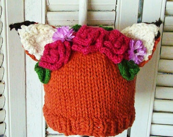 Frida Fox Hat Flower Crown READY To SHIP TODDLER Size 1-3T Wool or Choose Baby Cotton Hat