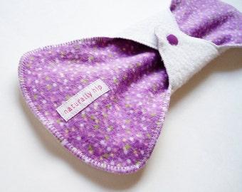 "11"" 28cm Heavy Organic Bamboo Fleece Cloth Menstrual Pad, White Purple Dots, Incontinence Pad, Plus Size Bamboo Pad, Cloth Sanpro CSP Canada"
