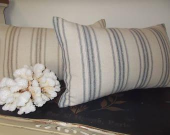 Farmhouse Grain Sack Lumbar pillow cover blue or brown stripe on beige background