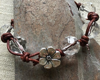 Glass Bead Knotted Leather Cord Bracelet