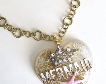 Sale Gold Glitter Sparkly Mermaid Resin Heart Necklace