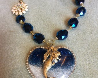 If I Was a Mermaid Resin Sparkle Heart Necklace