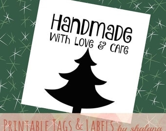 """Printable PDF Christmas Tags for DIY Handmade - """"Handmade with Love and Care"""" Christmas Tree Labels for Craft Shows and Holiday Gift Tags"""