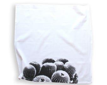 Barrel Cactus Dish Towel / Black and White Desert Dish Towel / Southwest Style / Modern Desert Kitchen Decor