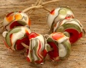 HOLLY - Handmade Lampwork Beads - Earring Pairs - 6 Beads