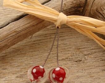 PUFFY HEARTS - Heart Shaped Handmade Lampwork Head Pins - 2 Headpins - #1
