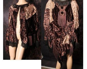 Elegant Velvet Cape, chocolate brown patchwork cloak, boudoir shawl, Victorial cape, Mori Girl coat, Mardi Gras poncho, flapper fringe top