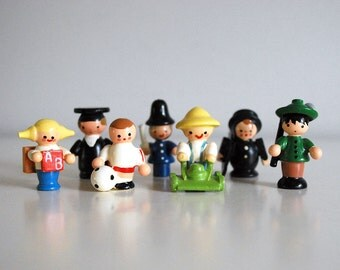Italian Wood Figurines, Sevi Miniature People, Hand Painted Wood, Village People, Cop Chimney Sweep Children Hiker Graduate, Kawaii Wood Toy