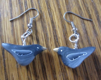 Crow Earrings ~ Bird Earrings ~ Black Crow Earrings ~ Surgical Steel Earrings ~ Hypo Allergenic Earrings ~ Polymer Earrings ~ Men Women