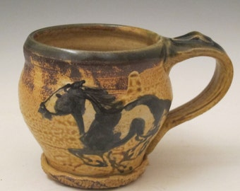 Mug with paint horses handmade pottery