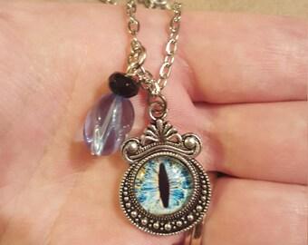 Evil Eye Cat Monster Pendant Necklace - Blue