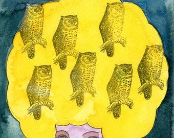 Night Owl-Owl Print, Night Owl, Owl Art Print, Night Art, Valerie Galloway