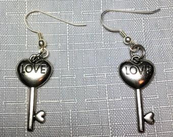 Love Is The Key To My Heart Dangle Drop Earrings #272