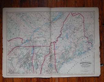 """Antique 1872 24"""" x 17 1/2"""" Map of Maine"""