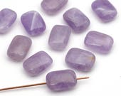 Flat rectangular lavender amethyst beads, light purple, semiprecious stone 14mm, 11 pcs