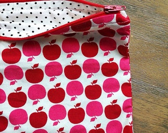 Shiney Red Apples zipper pouch