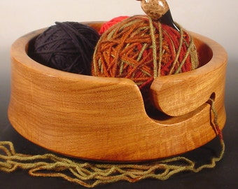 Afzelia Wooden Yarn Bowl Turned Wood Bowl Art  Number 6323 Handcrafted in USA by Texas Wood Artist Bryan Nelson