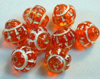 Vintage Glass Beads CZECH ORANGE SILVER  8mm pkg8 gl329