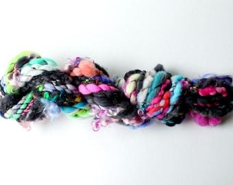 hand spun yarn, art yarn, handspun art yarn, wool yarn, boucle yarn, bulky yarn, handspun wool yarn .. wild wiggle 6